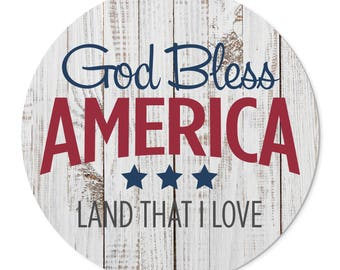 God Bless America Round Barnwood Sign 16 Inches