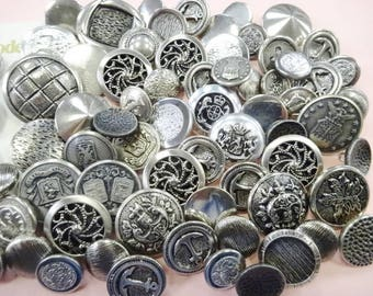 Sew Pretty Silver Tone Vintage Metal Estate Nice Quality Sewing Buttons Notions Embellishments Lot Collection