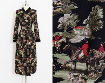 Vintage Lanz Dress | vintage equestrian print dress | cotton novelty print | medium m | 5957