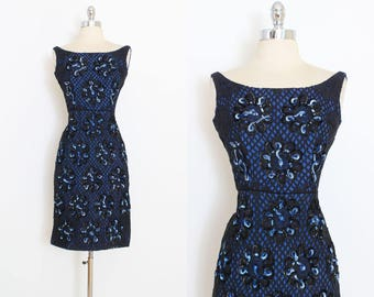 Vintage 50s Dress | 1950s peekaboo lace dress | black blue wiggle | xs | 5986