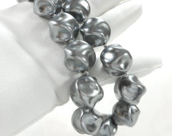 Vintage Trifari Glass Baroque Pearl Necklace Gray Grey Extra Long