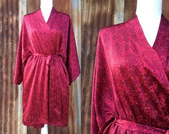 Red Silk Kimono Robe