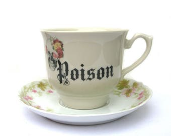 Poison Altered Vintage Teacup and Saucer