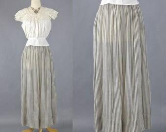 Edwardian Skirt, Antique 1910s Striped Chambray Skirt, Edwardian Petticoat, Cotton Work Skirt