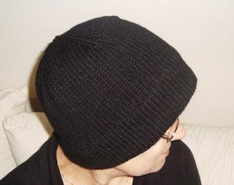 Black Womens Hat - Simple Knit Winter Hat- Wide Brim - Cloche Hat - Black Hat Black Beanie - Black Knit Pure Wool hat