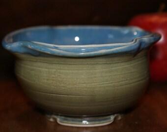 Small Ceramic Bowl / Dessert Bowl / Green / Blue / Double Rim