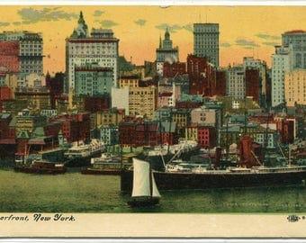 River Front Ship Skyline New York City 1911 postcard