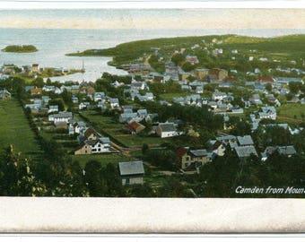 Panorama Camden Maine from Mountain 1907c postcard