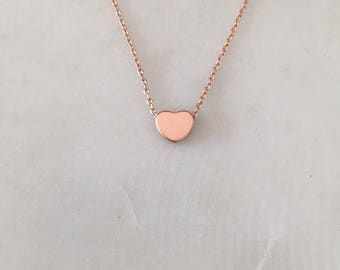 Rose Gold Hear Necklace - Minimalist Necklace - Tiny Heart Necklace