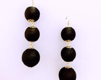 Black Cord wrapped Les Bonbon bon bon Earrings 3 Ball Hanging