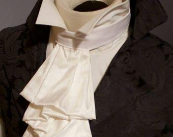 White SILK Regency Historic Victorian White JABOT Tie - Pure Dupioni Silk