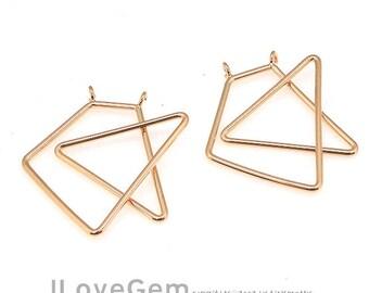 NP-1924 Rose Gold Plated, Geometric Pendant, Statement necklace Pendant, 2pcs