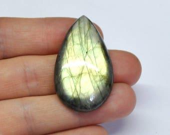 Golden Green Labradorite Tear Drop Cabochon Natural Gemstone Flat Back Drilling Option - 42.7 x 24.8 x 7.5 mm - 57.4 ct - 170705-06