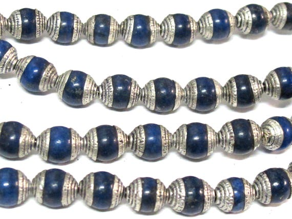 4 Beads - Tibetan silver color capped lapis gemstone beads from Nepal 7 - 8 mm x 9 - 10 mm  -  BD773D