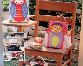 ON SALE Kwik Sew 3925, Lunch Bag Pattern, Sewing Pattern, Whimsical Lunch Bag Sewing Pattern, Owl, Monkey, Monster & Me, New, Uncut