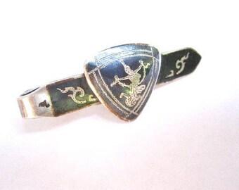 Vintage Sterling Enamel Tie Clip