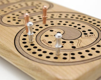 Cribbage Board - Cherry Wood with Walnut Curl. Personalize it with Optional Custom Engraving. Great Gift. Made in the USA!