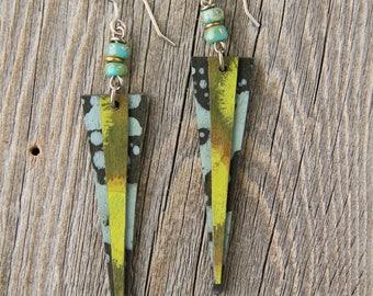 MOON MOSS / Wood Earrings / Women's Jewelry / Gifts For Her / Sustainable / Earrings / Acrylic Painting / Art / Art Jewelry
