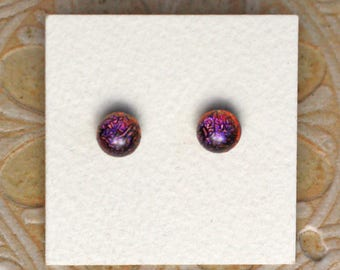 Dichroic Glass Earrings, Petite, Dark Purple Candy DGE-1142