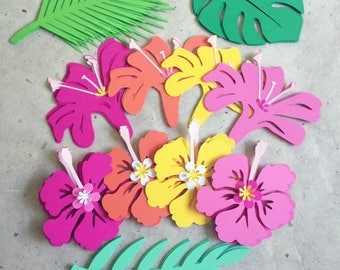 Tropical Hawaiian leaves flowers cut outs