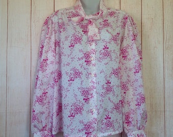 Vintage 70s Judy Bond White and Pink Floral Long Sleeve Button Front Shirt Ladies 18