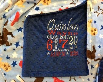 Custom personalized Minky blanket in dimple dot royal blue/western blue