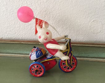 antique wind up tin Easter bunny toy