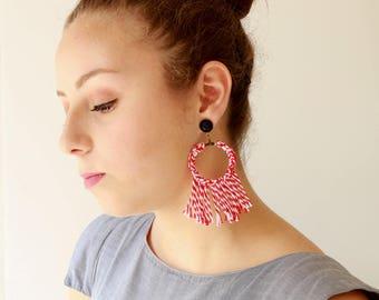 Red earring , Trendy statement earrings , textile hoop earrings, tassel earrings , lightweight soft jewelry free shipping naama brosh
