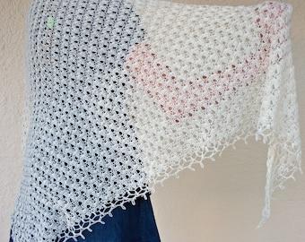 Crochet lace shawl off white cream fashion scarf wedding accessory elegant delicate summer evening wrap beautiful neckwear shoulder warmer
