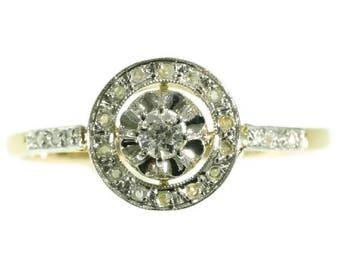 Art Deco engagement ring 0.10ct old European cut diamond 18k yellow gold 1920s ring