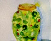 Aceo Jar of Olive Artist trading card original miniature watercolor Art by Delilah