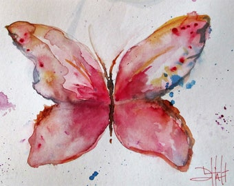 Pink butterfly watercolor painting Art by Delilah