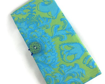 Beautiful checkbook cover green and blue print fabric with button closure