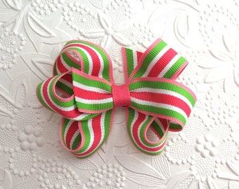 Pink and Green Striped Preppy Hair Bow ~  Pinwheel Boutique Hair Bow ~ Toddlers, Girls
