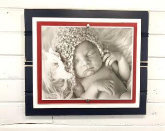 """Navy blue, red and white picture frame holds 8""""x10"""" New England Patriots colors"""