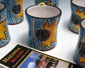 Total Solar Eclipse Ceramic Coffee Mug - Tea Coffee cup - 12 ounce - Makanda - 2017 - Commemorative Gift Limited Edition Gift for Him or Her