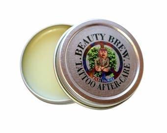 Beauty Brew Tattoo Aftercare Balm. Anti-itch & fast healing formula. W/ Patchouli Oil.  Net Wt. 1 oz.