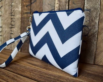 Navy Bridesmaid Wristlet, Monogram Bag, Bridal clutch, Bridesmaid clutch, Personalized gift, Flower Girl gift, Vintage, Navy Chevron Bag