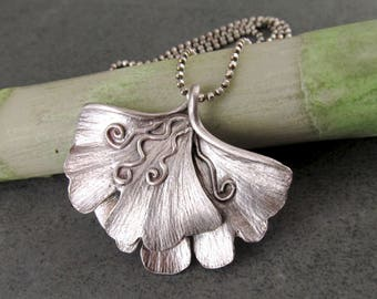 Large double gingko leaf pendant, handmade eco friendly fine silver necklace