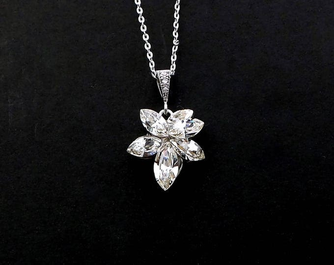 Bridal wedding jewelry bridesmaid gift prom party Swarovski clear white glam marquise crystal rhinestone flower sterling silver necklace