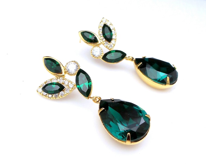 Swarovski emerald green rhinestone teardrop earrings with marquise gold cz post earrings bridal bridesmaid gift prom party wedding jewelry