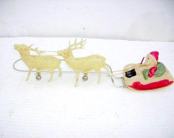 Vintage Celluloid Santa in Sleigh with Celluloid Reindeer/Bells/Old Japan