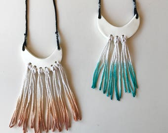Ombré Turqoise Moon Necklace Wall Hanging