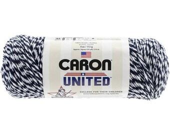 Acrylic Yarn White & Navy Marle Twist 6018 Caron United Yarn