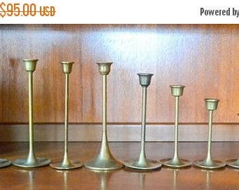 CIJ SALE 25% OFF vintage graduated solid brass candle stick holders - mixed / modern home decor / gold tone brass metal