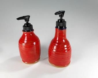 Ceramic soap and lotion set pump dispensers, ceramic lotion pump, pottery pump dispenser, stoneware soap dispensers red glaze set of 2