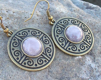 Rose Quartz - Drop Bronze Medallion Earrings, tribal earrings, gemstone earrings, gypsy boho