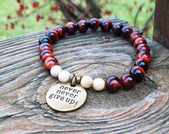 Red Tigereye Beaded meditation Stretch Bracelet with Never Never give up charm, gemstone bracelet - yoga bracelet - boho hippie