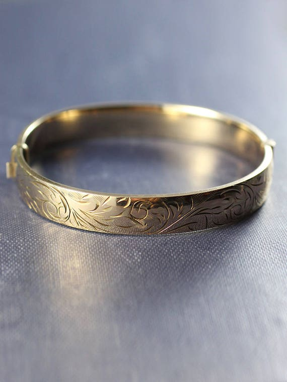Vintage 9ct Rolled Gold Bangle, Swirl Engraved Bracelet - Flowing Scrollwork