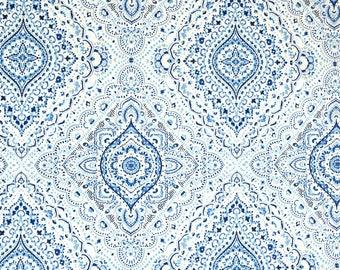 Hopewell Coastal Blue White Damask Fabric
